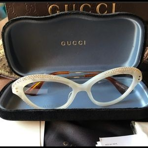 Authentic Gucci 51mm Cat eyes Crystals opt glasses